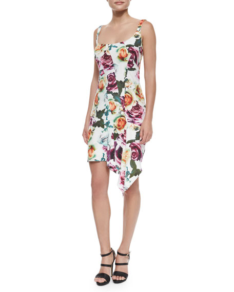 Nicole Miller Sleeveless Asymmetric Floral Cocktail Dress,