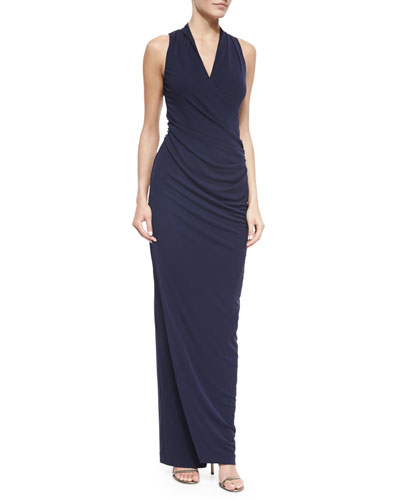 Sleeveless V-Neck Jersey Gown, Navy
