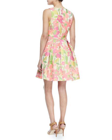 Martha Floral V-Neck Belted Fit-and-Flare Dress, Multicolor