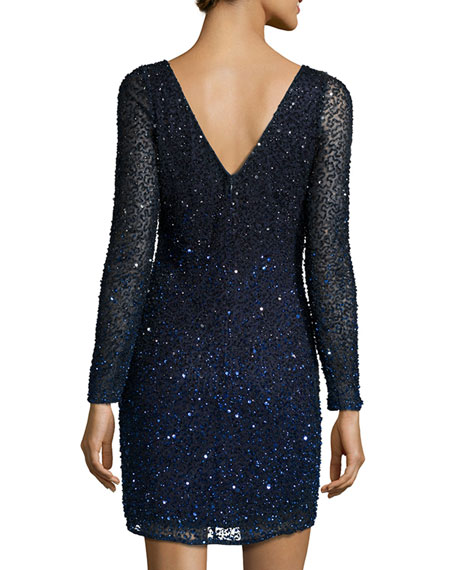 Long-Sleeve Sequin Cocktail Dress, Blue/Black