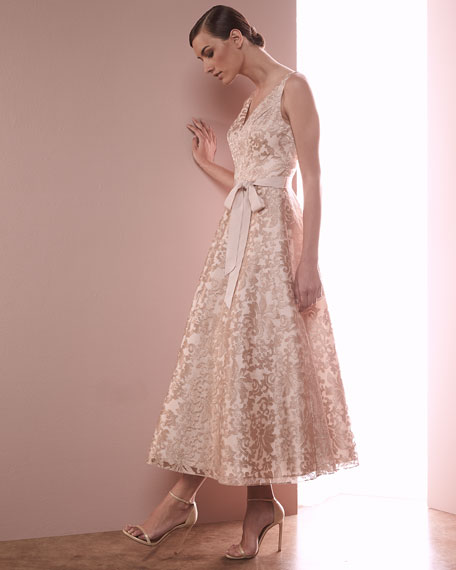 Sleeveless Lace Tea-Length Dress, Rose Gold