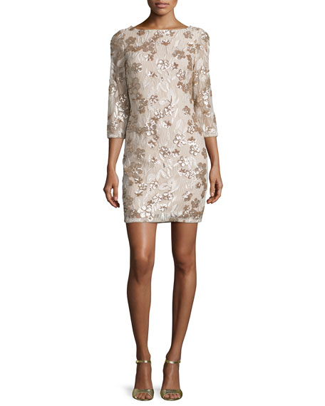 Aidan by Aidan Mattox Floral-Embroidered Sequin Dress, Champagne