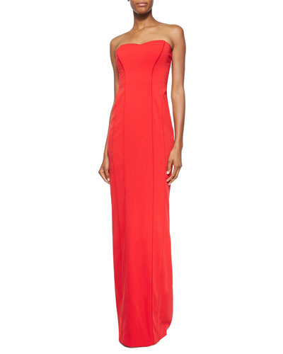 Strapless Sweetheart-Neck Gown, Red