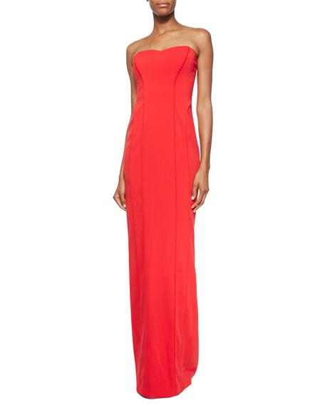 Badgley Mischka Strapless Sweetheart-Neck Gown, Red