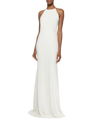 Sleeveless Halter-Neck Column Gown, Ivory