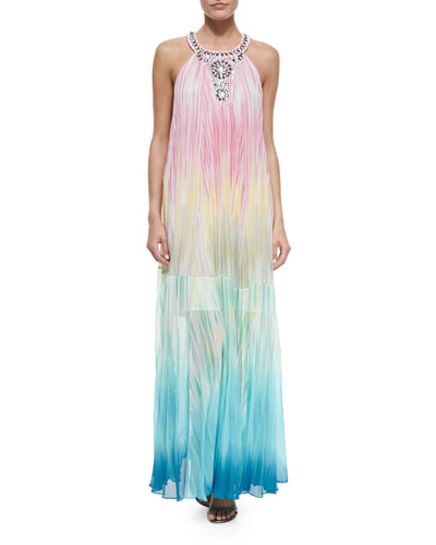 Sleeveless Beaded-Neck Ombre Gown, Light Fuchsia/Multicolor