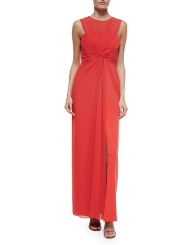 Sleeveless Twist-Front Chiffon Gown, Bright Poppy
