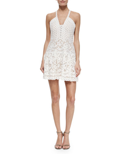 Sleeveless Lace Cocktail Dress, Jasmine White