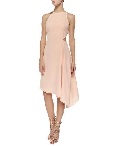 Sleeveless Asymmetric-Hem Dress