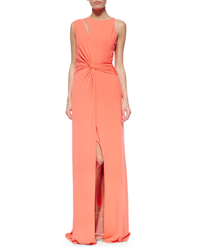 Sleeveless Twist-Waist Gown