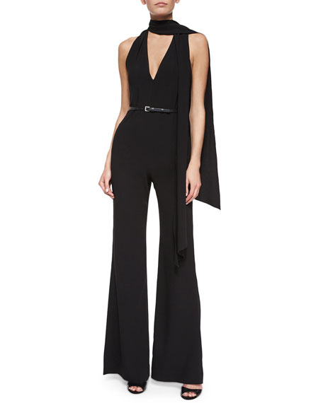 Sleeveless Belted Flare-Leg Jumpsuit w/ Tie Detail, Black