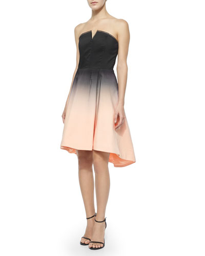 Strapless Structured Ombre Party Dress, Black/Glow