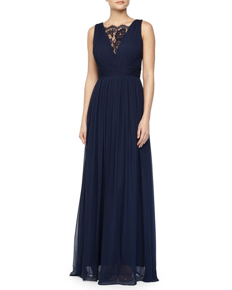Aidan Mattox Sleeveless Lace-Inset Pleated Chiffon Gown