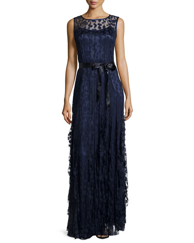Pintucked Lace Sleeveless Gown, Navy