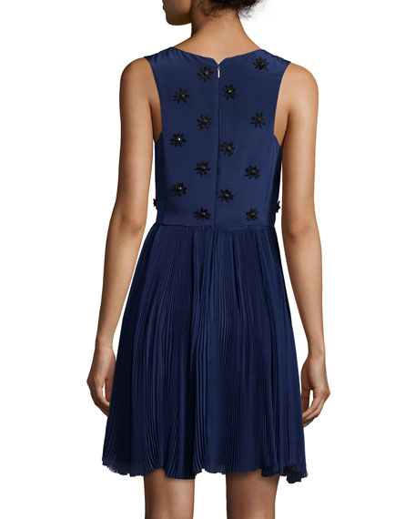 Sleeveless Beaded Pleated Cocktail Dress
