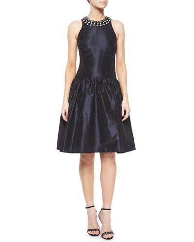 Sleeveless Beaded Jewel-Neck Cocktail Dress