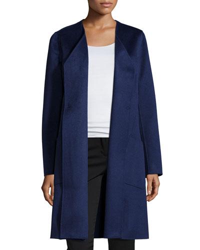 Mairene Cashmere Long Coat, Dusk Melange
