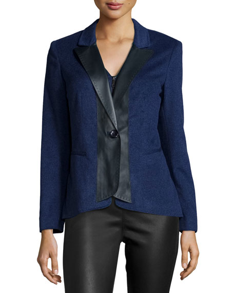 Lafayette 148 New York Greer Cashmere Jacket W/Leather Trim, Dusk Melange