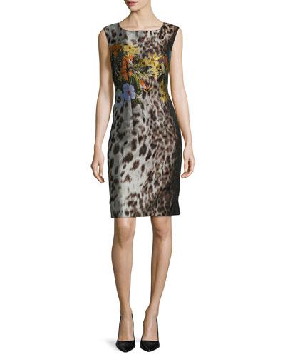 Savannah Sleeveless Floral-Print Sheath Dress, Espresso Multi