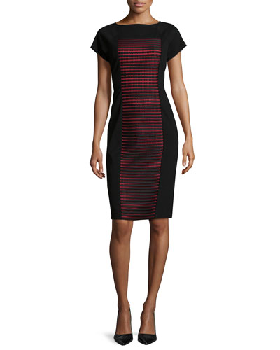 Short-Sleeve Contrast-Panel Dress, Black
