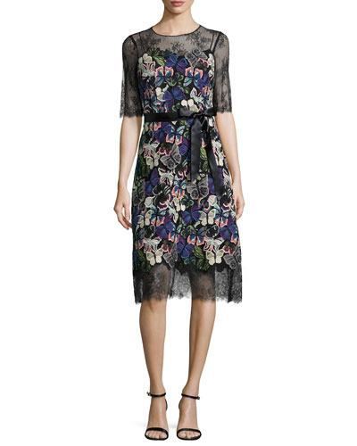 Short-Sleeve Embroidered-Butterfly Cocktail Dress