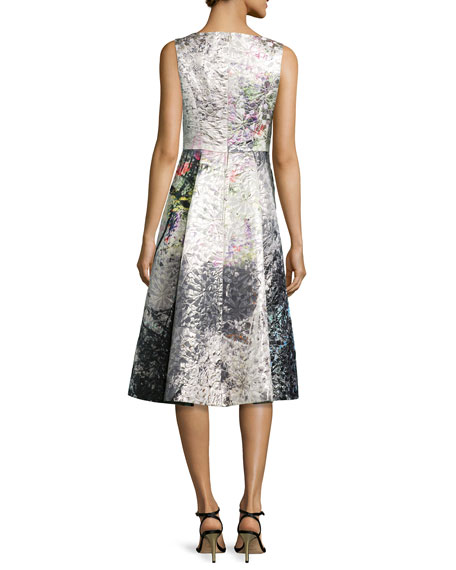 Tea-Length Jacquard Cocktail Dress