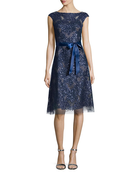 Rickie Freeman for Teri JonCap-Sleeve Lace Cocktail Dress