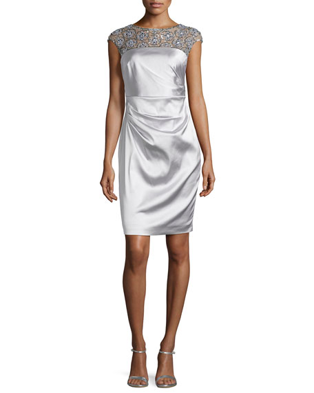 Kay Unger New York Satin Dress with Beaded