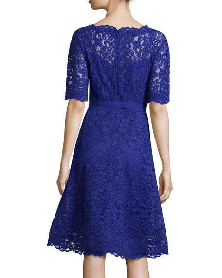 Lace Half-Sleeve Cocktail Dress, Royal