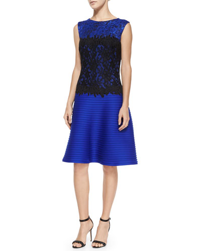 Sleeveless Lace-Bodice Pintuck-Skirt Cocktail Dress, Lapis/Black