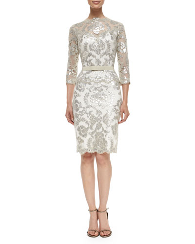 3/4-Sleeve Belted Lace Cocktail Dress