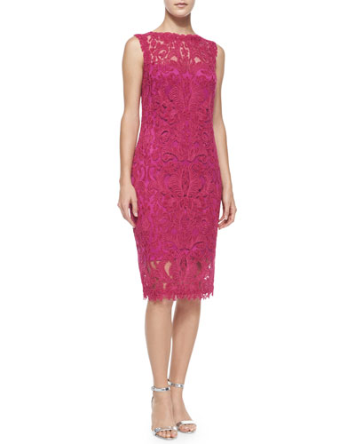 Lace Embroidered Sheath Dress, Rosette