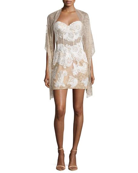 Jovani Embroidered Corset Strapless Sheath Dress