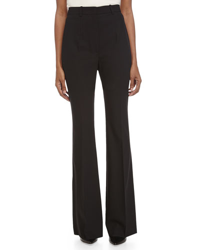 High-Waist Flare Trousers, Black