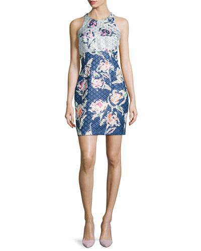 Floral-Brocade Cutout-Back Cocktail Dress