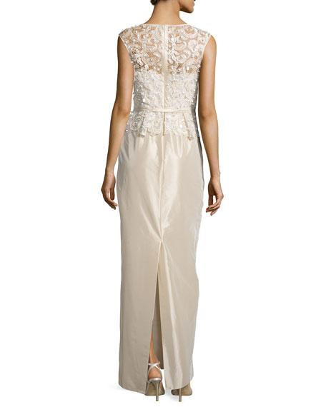 Sleeveless Embroidered Peplum Column Gown