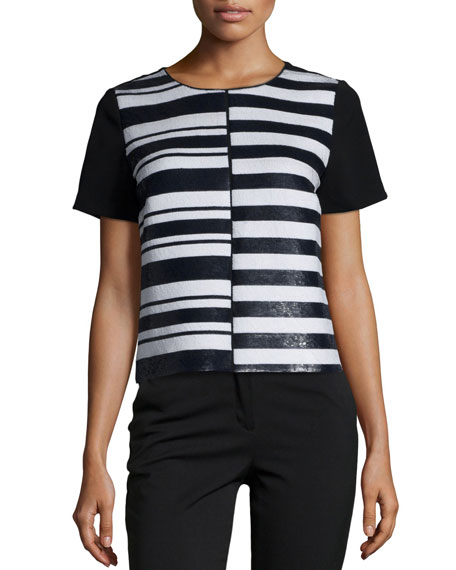 Lafayette 148 New York Willa Short-Sleeve Striped Top,