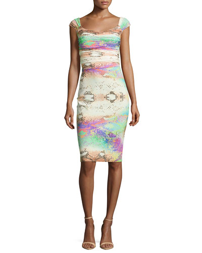 Laila Snake-Print Shirred-Bodice  Sheath Dress
