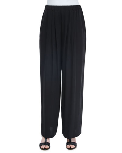 Pleated Wide-Leg Silk Pants, Black, Women's