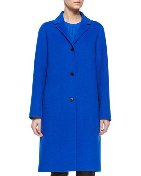Vince Classic Wool Long Coat, Cerulean