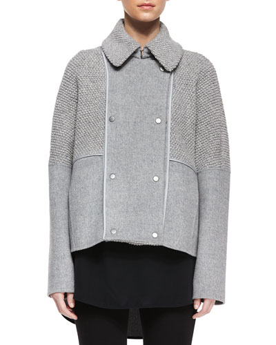 TA6XY Vince Sherpa Double-Breasted Boucle Wool Peacoat