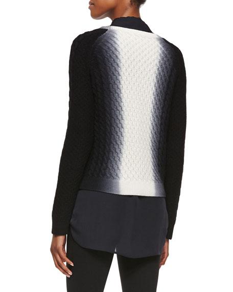 Dip-Dye Cable-Knit Crewneck Sweater