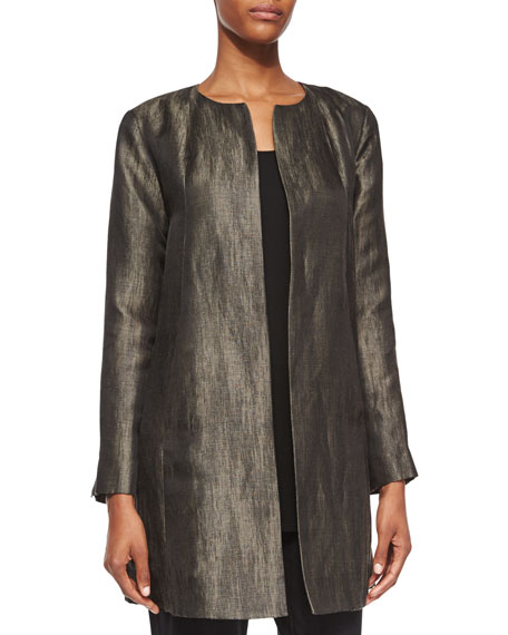 Eileen Fisher Long-Sleeve Herringbone Swing Jacket