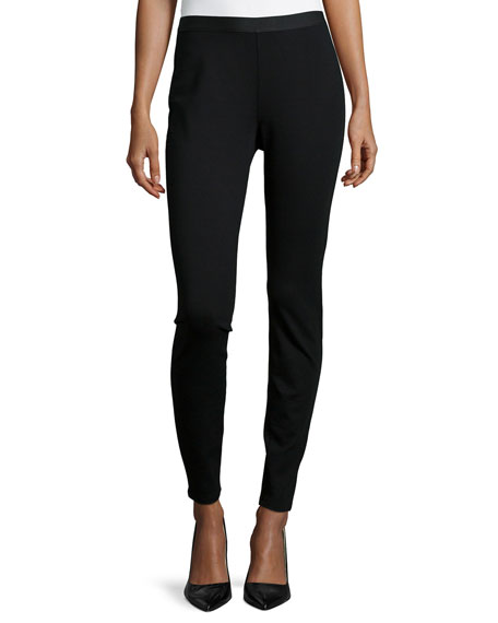 Eileen Fisher Stretch Ponte Leggings, Black, Petite