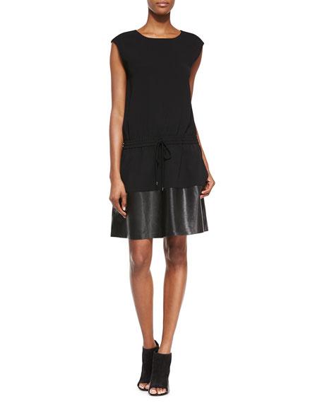 VinceWaist-Tie Leather/Knit Combo Dress, Black