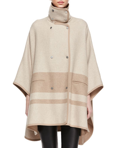 High-Collar Blanket Stripe Cape, Sandshell/Camel