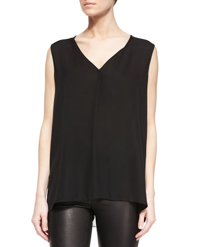 Sleeveless Two-Tone Silk Tank, Black/Off White