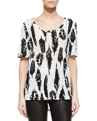Plume Print Short-Sleeve Tee, Off White/Black