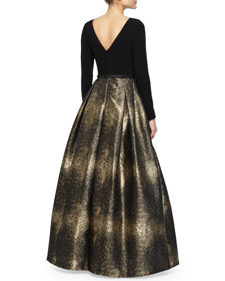 Jacquard-Skirt Long-Sleeve Gown