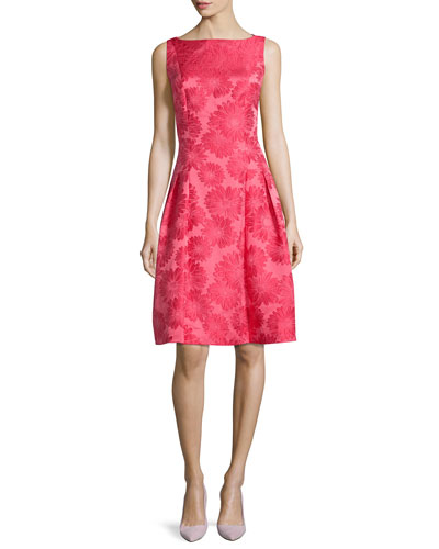 Sleeveless Poppy Brocade Party Dress